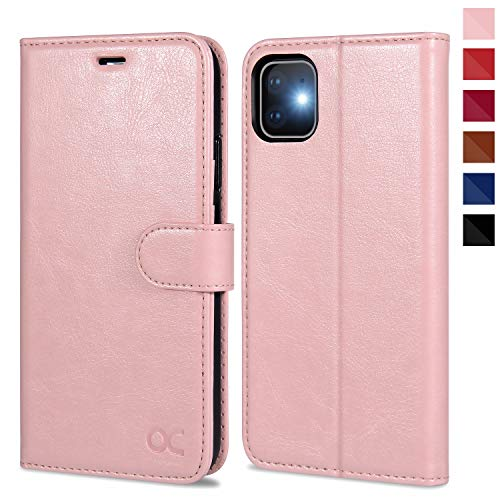 OCASE iPhone 11 Case, iPhone 11 Wallet Case with Card Holder, Leather Flip Case with Kickstand and Magnetic Closure, TPU Shockproof Interior Protective Cover for iPhone 11 6.1 Inch (Pink)