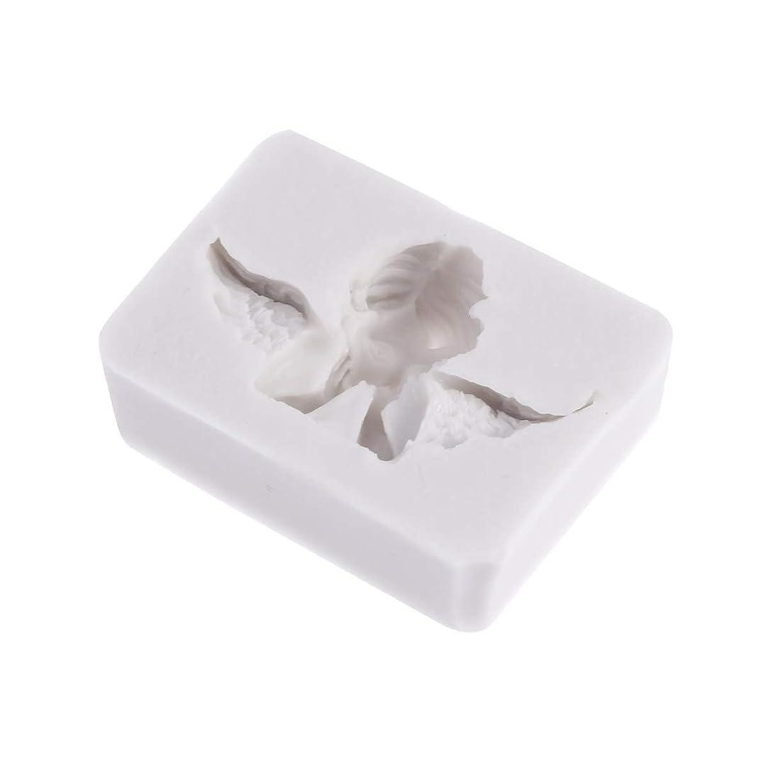 ご注意デコードする引き出しHealifty 3Dシリコーン型天使形シリコーン石鹸キャンディーケーキ型クラフト彫刻ケーキ装飾型石膏壁用石膏セメント(ライトグレー)