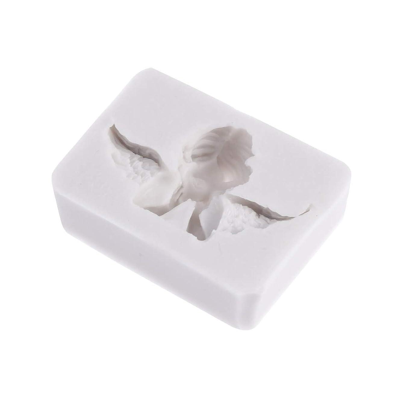 抵抗力がある災害しなやかHealifty 3Dシリコーン型天使形シリコーン石鹸キャンディーケーキ型クラフト彫刻ケーキ装飾型石膏壁用石膏セメント(ライトグレー)