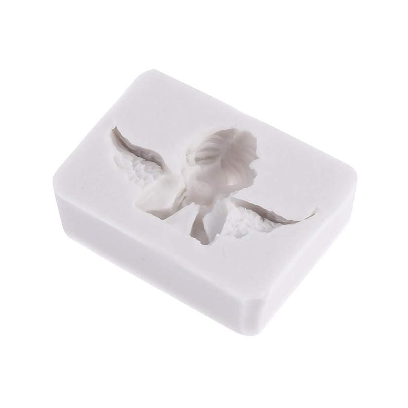 幾何学告発者タイプライターSUPVOX 3Dエンジェル型金型シリコンキャンドルソープチョコレートクレイ彫刻工芸ケーキ型飾るアートツール(ライトグレー)