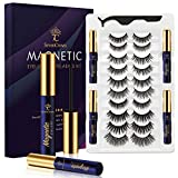 SevenCrown Magnetic Eyelashes with Eyeliner Kit 10 Pairs - 3D Magnetic Lashes Natural Looking with 4 Tubes of Waterproof Eyeliner,Upgraded,5 Magnets False Eyelashes Easy to Apply