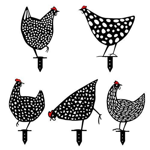 Chicken Yard Art - Gartenfigur Metall Huhn Deko Handarbeit Gartendeko, Outdoor Garten Hinterhof Rasen Pfähle Metall Hen Yard Dekor Geschenk, 2021 Glück Hen Dekoration aufwendig verarbeitet (5X)