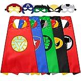 Sinoeem Capa de Superhéroe para Niños - 5 Capa y 5 Máscaras - Ideas Kit de Valor de Cosplay de Diseño de Fiesta de Cumpleaños de Navidad - Juguetes para Niños y Niñas