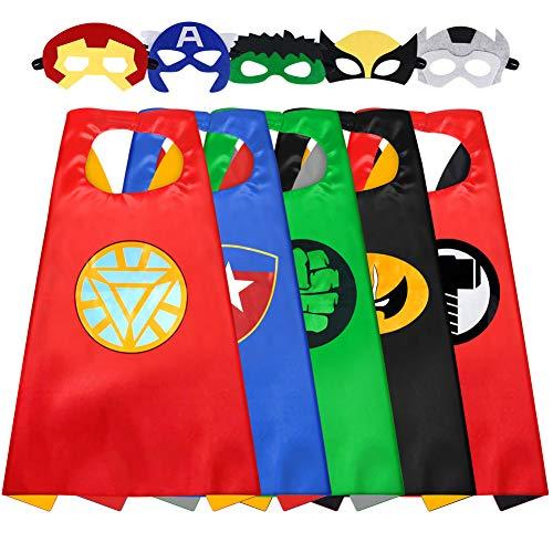 Sinoeem Capa de Superhéroe para Niños - 5 Capa y 5 Máscaras - Ideas Kit de Valor de Cosplay de Diseño de Fiesta de Cumpleaños de Navidad - Juguetes para Niños y Niñas (Capes Girl-A)