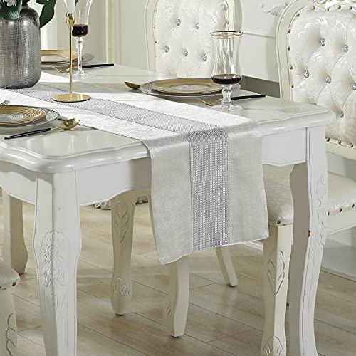 Deggodech Diamanten Tischläufer Beige 180cm Lang Modern Tischläufer Pailletten Table Runner für Hochzeiten Party Urlaub Tischdekoration (180cm, Beige)