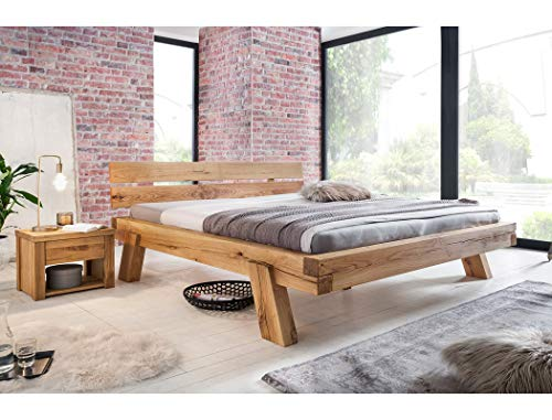 expendio Balkenbett Manhattan + Nachttisch Wildeiche geölt Größe nach Wahl Massivholzbett Holzbett Doppelbett Singlebett Schlafzimmer, Liegefläche:180 x 200 cm, Set-Inhalt:Bett