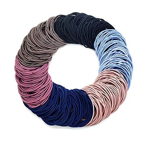 Hair Ties(300 PCS) No-metal Elastic Hair Ties Hair Bands Hair Ties Ponytail Holders Hair Bands Bulk(4.5 cm in Diameter, Multicolor)