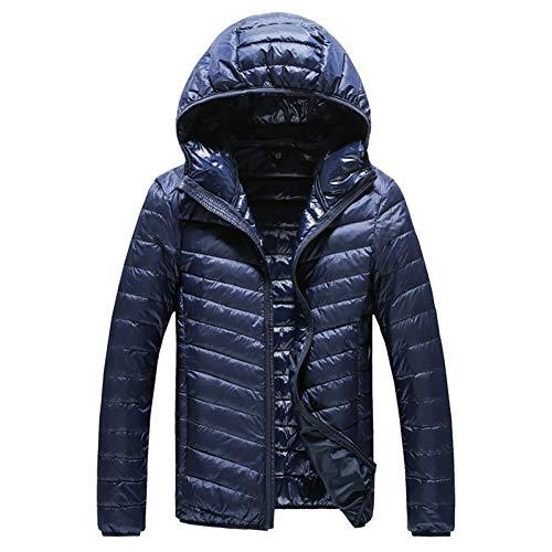 WYKDA Piumino Neue High-End-Warme Mode für Männer Feder mit Kapuze Unten Jacke Reine Farbe Boutique Herren Feder Unten Mantel Dünne Licht Jacken