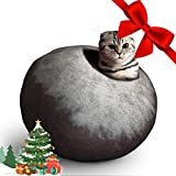 Juccini Felted Wool Cat Cave Bed ~ Perfect Handcrafted Cat Beds for Indoor Cats ~ Felted from 100% Natural Wool ~ Eco Friendly with Your Cats (Coffee Petals)