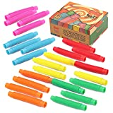 24 pack Fidget Pop Tube Toys for Kids and Adults, Pipe Sensory Tools for Stress and Anxiety Relief, Cool Bendable Multi-Color Stimming Toys Great as Gift, Party Favors, and Prizes for Fidgeters
