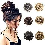 MeOkey Postizo Coletero Peinado Alto Hairpiece Extensiones de pelo rizado rizado natural rizado ondulado para mujeres coleta extensiones de pelo donut accesorios para el pelo