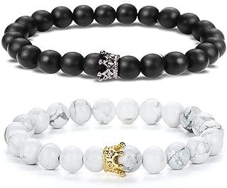 SEVENSTONE 2PCS Crown Couples Bracelet for Men Women King&Queen Bracelet Adjustable 8MM Beads