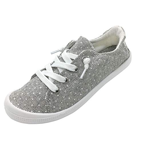 BENEKER Damen Low Top Canvas Sneaker Slip On Comfort Schuhe, Grau (Grauer Punkt), 43 EU