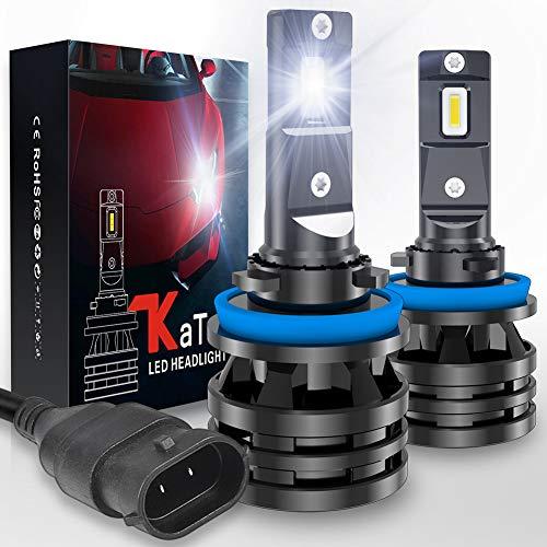 KATUR H8 H9 H11 Bombillas para Faros Delanteros Diseño Mini Chips de CREE mejorados 12000 LM Kit de conversión LED Todo en uno Impermeable a Prueba de Agua 55W 6500K Xenón Blanco-2 años de gar