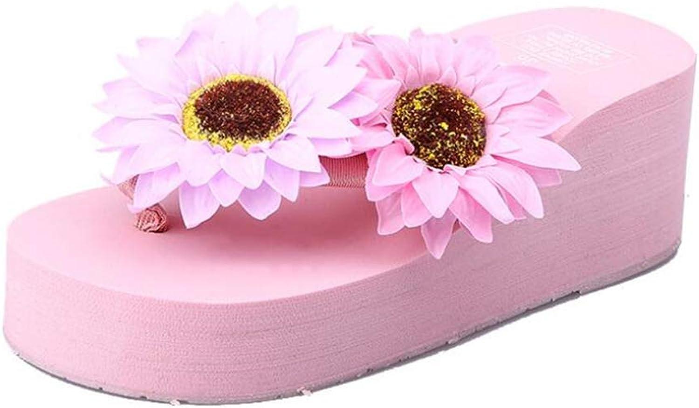 Sakisa Women's Summer Ethnic Style high Platform flip-Flop Travel Beach Sandals