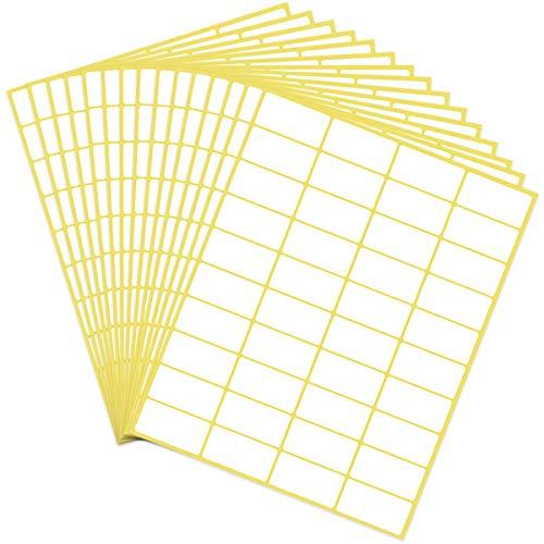 AvoDovA 15 Fogli Etichette Adesive Bianche, 600 pezzi Etichette Piccole Adesive, 19x38mm, Cartelle di File Etichette Etichetta Prezzo Etichette Codice Colore Vari usi Etichette