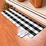 Aopota Runner Rug Buffalo Plaid Check Indoor Outdoor Rugs Farmhouse Rug Black and White Checkered Washable Runner for Kitchen Bedroom Bathroom