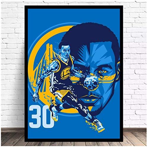 Baloncesto Warriors Curry Wall Art Canvas Painting Posters Sala de estar Decoración del hogar Decoración de la pared -60x80cm Sin marco
