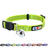 Pawtitas Reflective Cat Collar with Safety Buckle and Removable Bell Cat Collar Kitten Collar Green Cat Collar