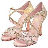 Manuel Reina - Zapatos de Baile Latino Mujer Salsa Competition01 Rose Pearl Swarovski - Bailar Bachata, kizomba - Adrian y Anita (36 EU, Tacón: 5.5)
