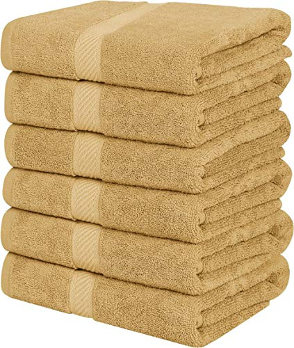 Utopia Towels Small Cotton Towels, Beige, 22 x 44 Inches Towels for Pool, Spa, and Gym Lightweight and Highly Absorbent Quick Drying Towels, (Pack of 6)