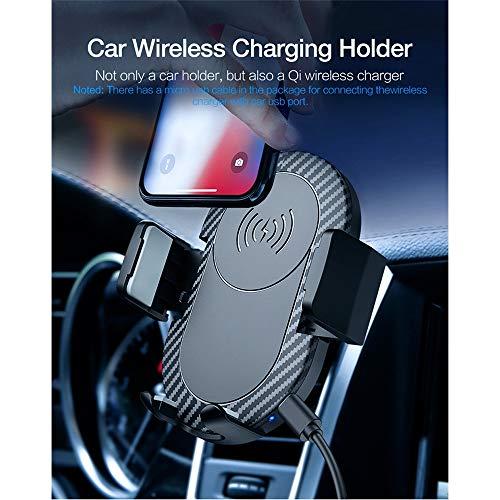 SMBYQ draadloze autolader voor mobiele telefoons, 360 graden draaibaar, Qi-gecertificeerd, compatibel met LG Samsung Google Nokia