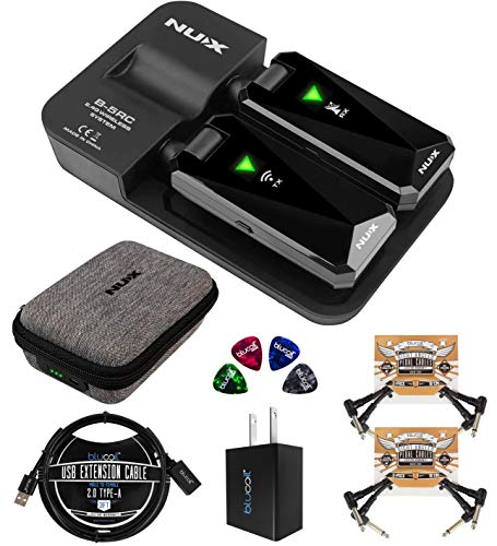 NUX B-5RC Wireless Guitar System for All Types of Guitar with Active or Passive Pickup Bundle with Charging Case, Blucoil USB Wall Adapter, 3' USB Extension Cable, 4x Patch Cables, and 4x Guitar Picks