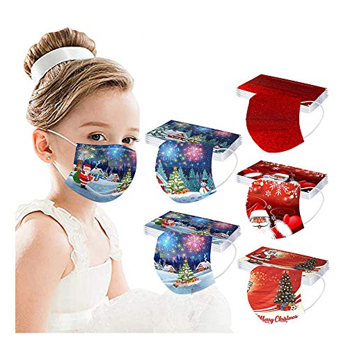 Koippimel Kids Christmas Disposable Face_Mask, Printed Cute 3Ply Breathable Face_Masks with Elastic String and Adjustable Nose Clip for Dust Protection, Childrens Gifts, 50pcs
