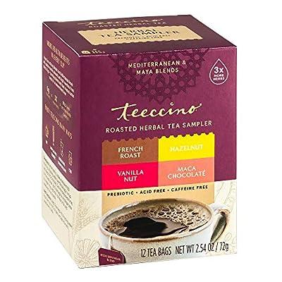 Teeccino Herbal Tea Sampler Assortment – Maca Chocolaté, French Roast, Hazelnut, Vanilla Nut – Rich & Roasted Herbal Tea That's Caffeine Free & Prebiotic for Natural Energy, 12 Tea Bags from Teeccino Caffé, Inc.