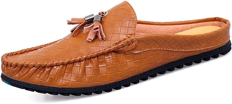 Jumjianfu-Fashion Herrenschuhe für Herren, Stiefel, Mokassins, Slip-On-Stil, Mikrofaser-Leder, halb gezogene Webstruktur, Klassische Quaste, Whippersnapper