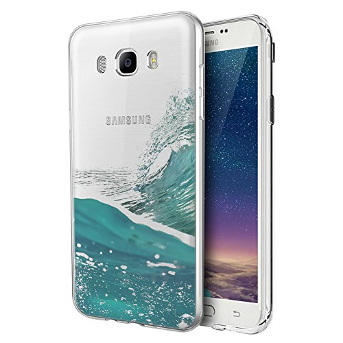 Eouine Funda Samsung Galaxy J7 2016, Cárcasa Silicona 3D Transparente con Dibujos Diseño Suave Gel TPU [Antigolpes] de Protector Bumper Case Cover Fundas para Movil Samsung Galaxy J7 2016 (Mar)