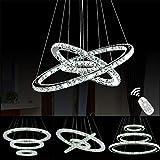 Luxus Kristall 3 Ring Pendellampe Modern LED Pendelleuchte Hängelampe Hängeleuchte Deckenlampe Deckenleuchte Dimmbar Kronleuchter mit Fernbedienung Lampe Leuchte für Wohnzimmer Esszimmer Esstischlampe
