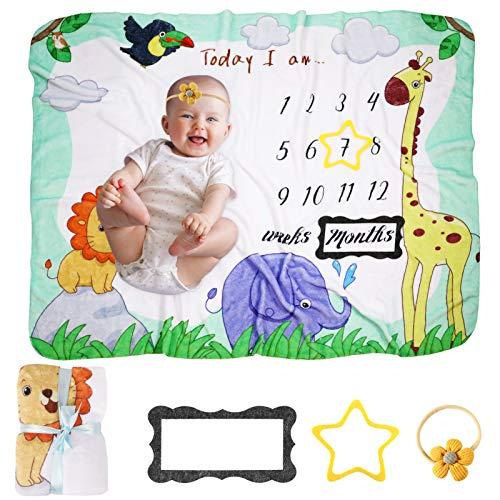 Manta Milestone para bebé, KNMY Manta Mensual De Bebé para Fotos, Franela Manta Regalos para bebé en Crecimiento,100 x 130cm