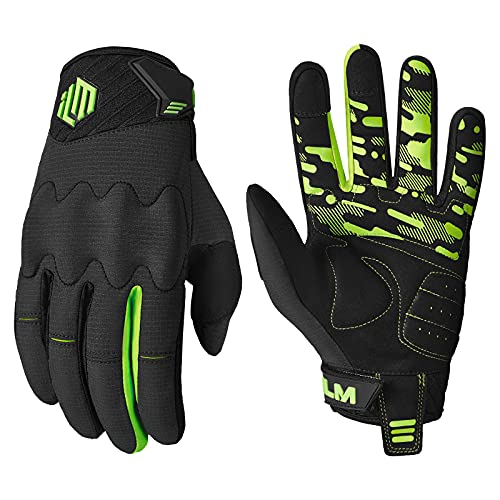 ILM Adult Motorcycle Dirt Bike Motocross ATV MTB Mountain Bike Gloves Full Finger Summer Breathable Touch Screen Glove for Bicycle Cycling BMX Sports Outdoor (Green Adult-XL)
