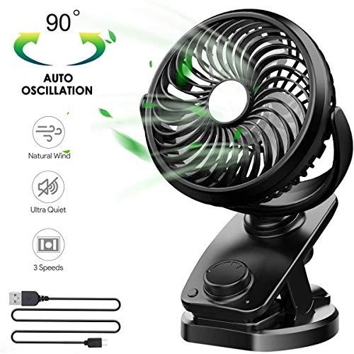 Mini Clip Fan USB Tischventilator Tragbarer Kinderwagen Clip Am Kinderwagen Fan Mit 90 ° Drehung Für Buggy, Zuhause, Büro, Fitnessstudio, Angeln Camping Und Reiten