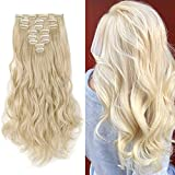 17' Long Straight Curly Wavy Full Head Clip in Hair Extension 8 Pcs 18 Clips Real Thick Heat Resistance Synthetic Hairpiece for Women Girls (Bleach Blonde)