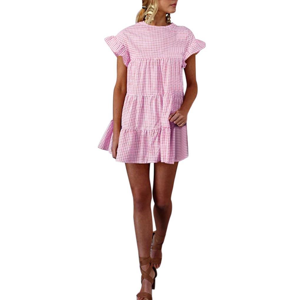 Available at Amazon: HODOD Summer Women's Ladies Plaid Printing O-Neck Short Sleeve Mini DressTeen Girls Cute Short Dress