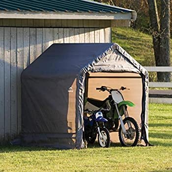 ShelterLogic 6  x 6  Shed-in-a-Box All Season Steel Metal Peak Roof Outdoor Storage Shed with Waterproof Cover and Heavy Duty Reusable Auger Anchors Grey