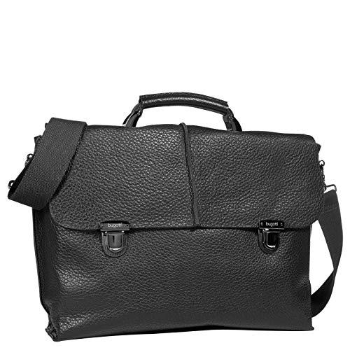 Bugatti Milano Leder Businesstasche Briefcase Notebooktasche Aktentasche 495378,Schwarz