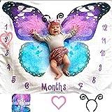 Evovee Baby Monthly Milestone Blanket Girl Butterfly, Baby Month Blanket Age Photo Blanket, Photography Backdrop Newborn Girls Props, Soft Plush Fleece w Marker and Headband New Moms (Butterfly)