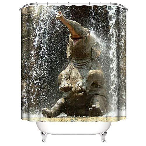 Wasserdichter Duschvorhang aus 100prozent Polyester Glücklicher Kleiner Elefant Badezimmer Badewanne Schimmelbeweis Duschvorhang Dekoratives Muster Mit Haken Schimmelwiderstandsfähig Waschbar 180*180 cm