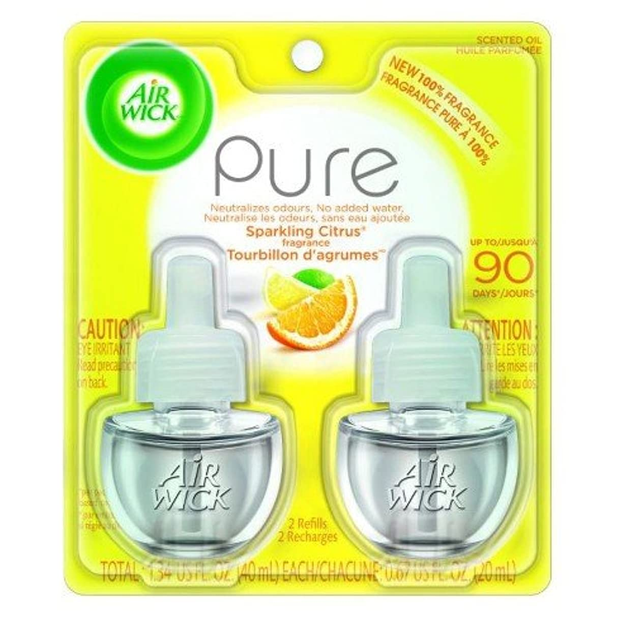 超えてマイル会社【Air Wick/エアーウィック】 プラグインオイル詰替えリフィル(2個入り) スパークリングシトラス Air Wick Scented Oil Twin Refill Pure - Sparkling Citrus (2X.67) Oz. [並行輸入品]
