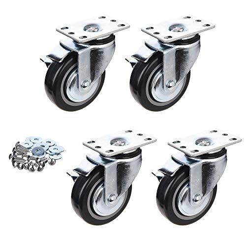 [T-REX CASTER] 4inch Heavy Duty Casters, All Swivel Plate Caster Wheels with Safety Side Locking and Black Polyurethane Load Capacity -840 Lbs Per Caster (Pack of 4) P504S-2B(D/B)