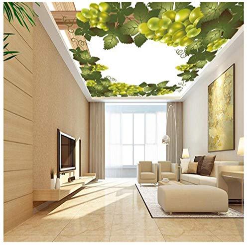 Muurschilderingen Aangepaste 3D HD Behang Eenvoudige Witte Achtergrond Plant Druif Muurschildering Plafond Woonkamer Slaapkamer Woonkamer Eetkamer Muursticker 450(w)x300(H)cm