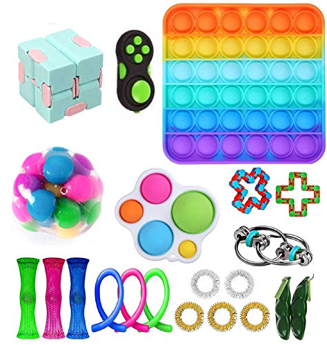 LWXQWDS Fidget Toy Set Fidget Pack Sensory Relieves Stress Anxiety for Kids Adults, Fidget Pack with Simple Dimple in It, Tie Dye Push Pop Bubble Toy &More (Fidget Toys Pack)