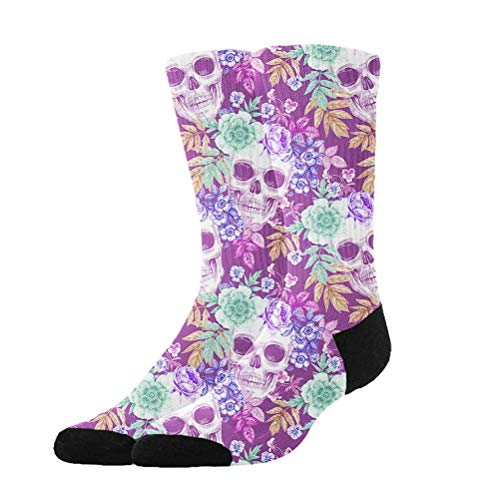 huatongxin Crew Calcetines,Compression Calcetines,Casual Calcetines,Athletic/Sport Calcetín,Mexican Sugar Skulls Flowers Purple Moisture Control Running Calcetines Durable Breathable Training Calce