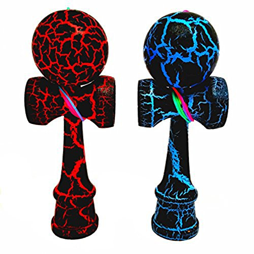 2-PACK - KENDAMA TOY CO. - The Best Pocket Kendama For All Kinds Of Fun (not full size) - Awesome Colors: Black Red and Black Blue Kendama Set - Solid Wood - A Tool To Create Better Hand And Eye Coordination
