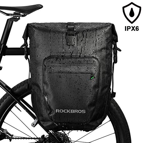 ROCKBROS 27L Bike Pannier Bag Waterproof Bicycle Rear Rack Bag for Cycling Travel Bag with Single Shoulder Strap (1 Black Pack)