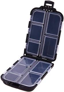 新しいフィッシュフックボックス 多機能10区画釣り針ボックス収納ケースボックスプラスチックルアースプーンのフックは、ボックス小さなアクセサリーボックススクエア釣り針ボックス2個タックルベイト (Color : Black)