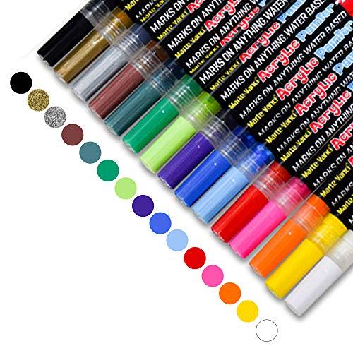 FAGORY Rotuladores Metálicos - 15 colores Rock Paint Kit Bolígrafos para hacer...